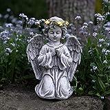 Festive Lights Statue Ange Agenouillé Couronne Lumineuse Solaire - 28,5cm Statue pour...