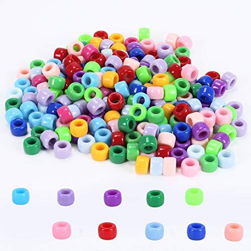 FOGAWA 1800 Stück Pony Perlen 6x8mm Bunte Perlen zum Auffädeln Acryl Perlen mit 5mm größe Loch Bastelperlen für Halsketten DIY Armbänder Schmuckbasteln Geburtstagsgeschenk für Mädchen, Kinder