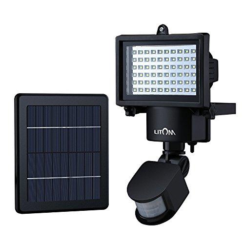 Litom Luz LED jardín solar, Lámparas solares exterior, Luz de jardín con placa solar, Sensor movimiento luz de energía solar para jardín,patio, garage, etc.