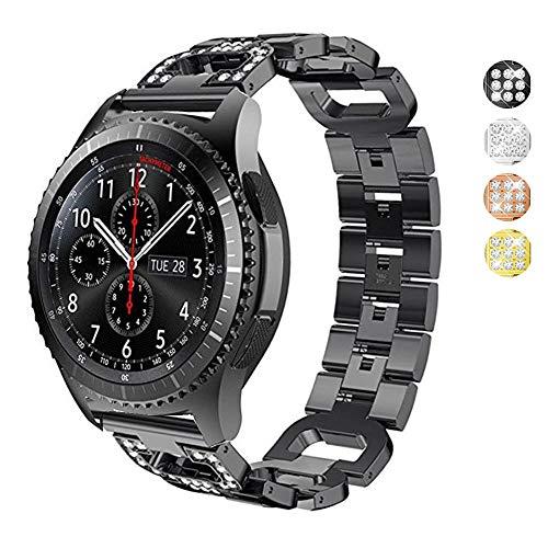 Correa de repuesto para reloj Samsung Gear S3 / Galaxy con diamantes de imitación en forma de D, de acero inoxidable, para Samsung Gear S3 Frontier, Classic, Galaxy Watch de 46 mm, para mujer