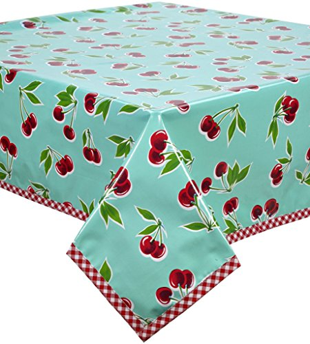 Freckled Sage Cherry Aqua Oilcloth Tablecloth with Red Gingham Trim You Pick The Size