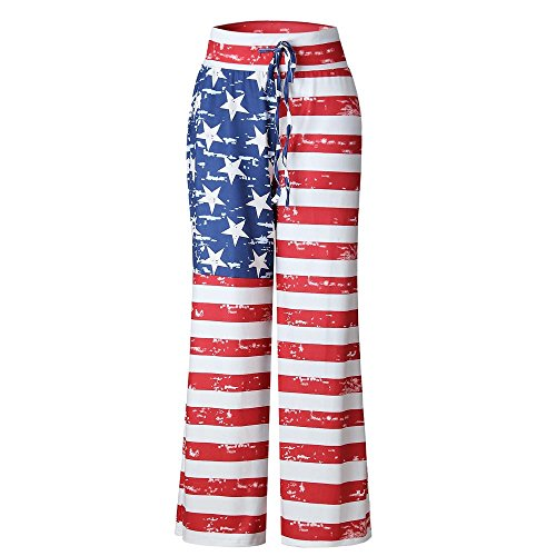 Women Pants Neartime Print Loose Casual Pants American Flag Drawstring Wide Leggings