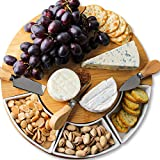 Bamboo Cheese Board and Knife Set – Charcuterie Boards with Cutlery Set - 4 Stainless Steel Knives in Slide-Out Drawer – Cheese Serving Platter with 3 Ceramic Bowls - Great Gift Idea for Any Occasion