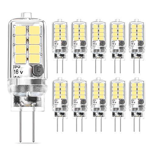 Bombillas LED G4 3W Blanco Frío 6000K, Sin Parpadeo No Regulables, 10W 20W Halógeno Equivalente, AC/DC 12V G4 Luces LED, Ángulo de Haz 360° Lámparas LED G4, Paquete de 10, Eco.luma