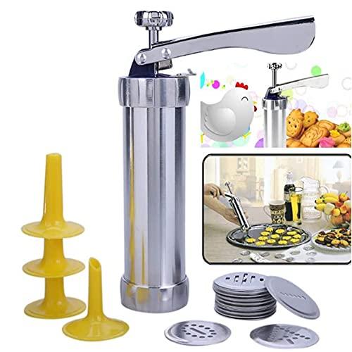 Kit de pistola de prensa de galletas para fabricante de galletas 20 discos de galletas de acero inoxidable y decoración de 4 boquillas máquina de galletas (20discs y 4nozzles)