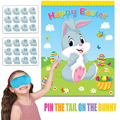 Happy Storm Easter Games for Kids Pin The Tail on The Bunny Easter Egg Hunt Activities Easter Games for Party Decorations Favors Supplies with 24 Tails Stickers