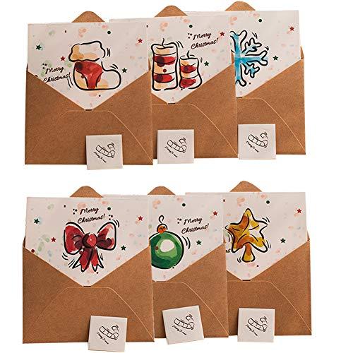 Biglietti di Natale,24 biglietti e buste,biglietti di auguri di buon Natale, set di biglietti di auguri per le vacanze con 6 motivi natalizi vintage