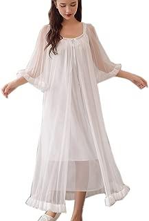 Womens Sexy Vintage Loungedress Nightgown 2 pcs Victorian Sleepwear Nightshirt Girls Pajamas