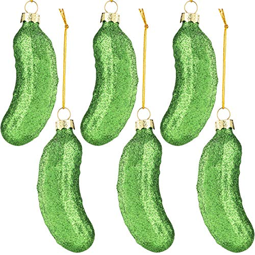 WILLBOND 6 Pieces Christmas Pickle Ornaments Hand Blown Glass Pickle Ornaments for Christmas Tree, Green
