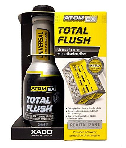 XADO Atomex Nettoyant pour système d'huile de moteur avec effet anti-carbone – Élimine la contamination et la boue du moteur – Revitalisant Total Flush (flacon, 250 ml)