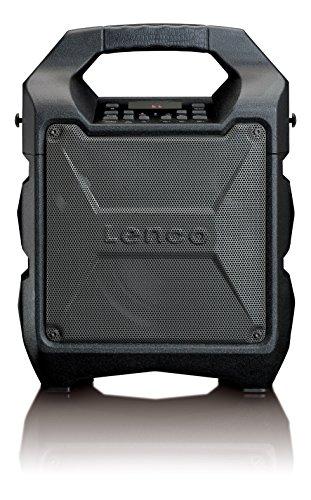 Lenco PA-30 PA-Anlage, mobil mit Akku und Bluetooth (USB, AUX, Mikrofon-Anschluss, UKW-Radio, 25 Watt RMS), schwarz