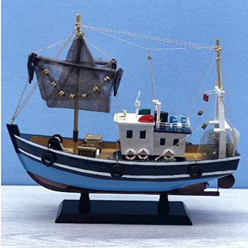RUXMY Decoración Modelo de velero Modelo de Barco de Pesca Azul Artesanía de Madera Modelo náutico Vintage Modelo de Barco Juguete de Vela de Madera 38Cm