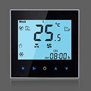 Temperature Controller LCD Display Air Conditioning 2-Pipe Programmable Room Thermostat for Fan Coil Unit, Supports WiFi(Black) Intelligent Digital Thermostat