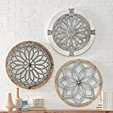 Home Modern Farmhouse Wall Decor Heritage Round Wall Art Metal and Wood Art Deco Wall Medallions, Creative Home Art Wall Decor, Hand-Made Multi-Style Crafts Decor for Living Room Porch (3pc Set)