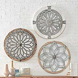 Acrylic Wall Art Flower of Life Metal Flower Circle Wall Decor Carved Hanging Ornament Handmade Sacred Geometry Art Sculpture Wall decorations Clock Shaped Pendant Decor for Home Cafe Vintage Shop Yoga Studio (01+02+03)