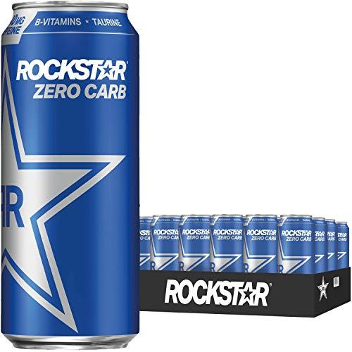 Rockstar Zero Carbs Energy Drink, 0 sugar 0 calories and 0 carbs, with Caffeine and Taurine, 16oz (24 Pack) (Packaging May Vary)