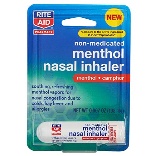 Rite Aid Menthol Nasal Inhaler - 0.007 oz   Nasal Decongestant with Soothing Menthol Vapors for Colds, Hay Fever, Allergies   Inhale Health Vape   Nasal Inhalers   Stuffy Nose Relief   Vapor Rub