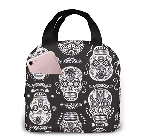 Dark Folklore Skulls Sugar Skull Lunch Bag para mujeres, niñas, niños, aislado, picnic, bolsa, enfriador, tote, bento, grande, comida, preparación, lindo, bolsa