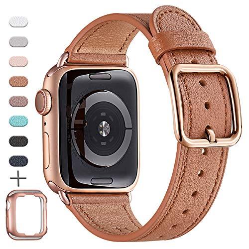 MNBVCXZ Correas compatibles con Apple Watch - Correa de cuero de grano superior [Edición de diseño único] [Marrón y rosa dorado - 42mm 44mm]