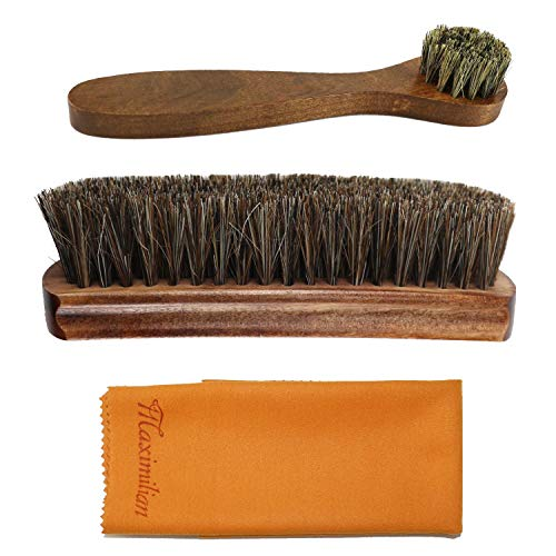 Shoe Shine kit, boot brush 100% Brown Solid Wood Horse Hair Shoe Brush, Long Handle Horse Hair Shoe Brush, Double Suede Suede Cloth
