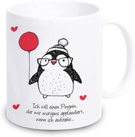 """Preisvergleich für Tasse """"Ich will einen Pinguin der mir morgens applaudiert, wenn ich aufstehe..."""" Kaffeebecher - Geschirr Geschenkidee - Weihnachtsgeschenk Geschenk Geburtstagsgeschenk ausgefallen originell"""