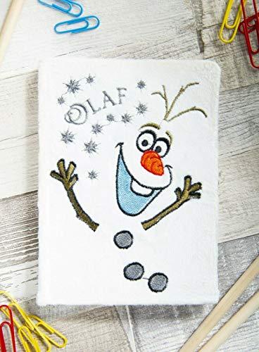 SRV Hub - Cuaderno de peluche para niños con personajes de Disney, diario de viaje para niños, cuaderno escolar para niñas, el mejor regalo para niñas de 5 años (cuaderno de felpa Olaf congelado)
