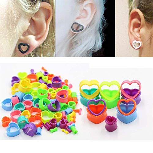 Expansor de medidores de oído 10 piezas de colores Corazón túnel Plug Industrial Piercings acrílico del oído Earlets Camillas Gauge Expander silla enchufes joyería atractiva para hombres mujeres