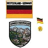 A-ONE 3er Pack - Garmisch-Partenkirchen Schild Patch + Deutschland-Flagge Patch + Deutschland-Flagge Abzeichen, Bayern Wahrzeichen Patches & Deutschland Rangerpin