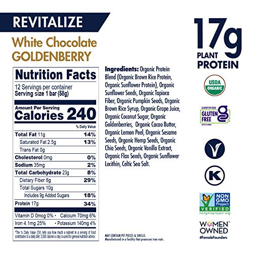 SHANTI BAR | 17G Plant Based Protein | Performance Superfood | Vegan Sport Protein Bar | Paleo, Certified Organic, Low Glycemic, Gluten Free, Raw Healthy Snack and No Refined Sugars | REVITALIZE White Chocolate Goldenberry | 12 Count, 2 oz Bars