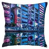 Genertic 4 Fundas de cojín de 45 x 45 cm de Osaka Street City de Felpa para...