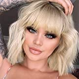 MISSQUEEN Short Omber Blonde Wigs Wavy Bob Wig with Air Bangs Women's Synthetic Curly Pastel Bob Wig for Girl Colorful Cosplay Wigs