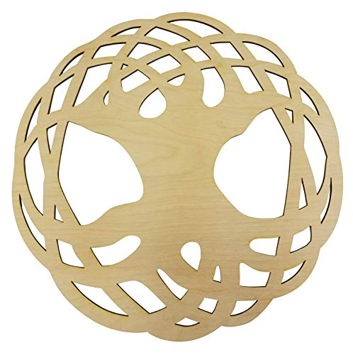 "12"" Celtic Knot Tree of Life Wall Art | 12"" Diameter - 1/8"" Thick | Wooden Wall Art, Crystal Grid, Zen Wall Art, Wooden Art, Wooden Wall Art Decor | Sacred Geometry Art, Geometry Art"