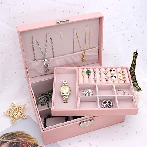 PuzCub Caja de joyería multifuncional para mujeres, niñas, de doble capa, organizador de almacenamiento de joyas, organizador de joyería de viaje, caja de joyería
