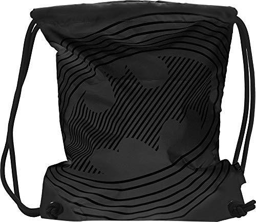 Baagl Turnbeutel - wasserdichte Schuhbeutel für Kinder, Damen und Herren - Schule und Kindergarten Sportbeutel, Sportrucksack (Batman Sonic Black)