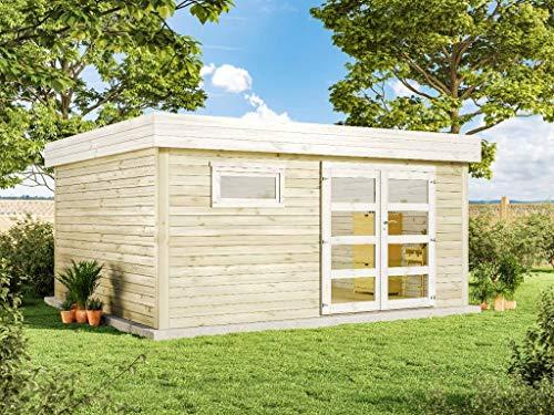 Alpholz Gartenhaus Holz Flachdach Evelin aus Massiv-Holz | Gerätehaus mit 28 mm Wandstärke | Garten Holzhaus inklusive Montagematerial | Geräteschuppen Größe: 468 x 426 cm | Flachdach