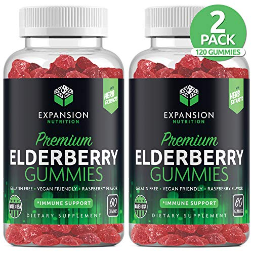 (2 Pack | 120 Gummies) Sambucus Organic Elderberry Gummies for Adults & Kids | Immune Gummy with Vitamin C, Propolis & Echinacea | Immune System Booster Herbal Supplement