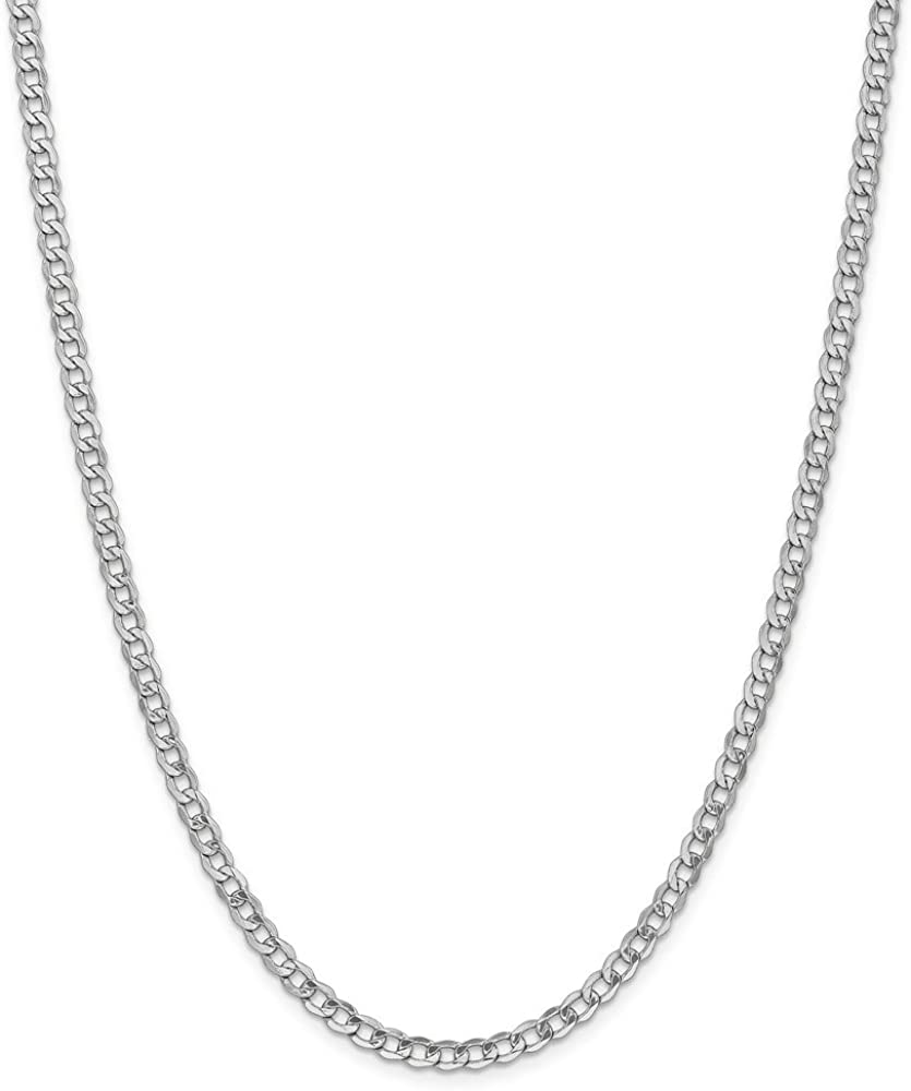 14k White Gold 4.3mm Curb Cuban Link Chain Necklace - with Secure Lobster Lock Clasp