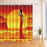 Nyngei Afrikanische Frau mit Rock Tanz-Sonnenschutz-Vorhang Stoff Polyester wasserabweisend 180x 180cm Duschvorhang Duschvorhänge mit rot-orange