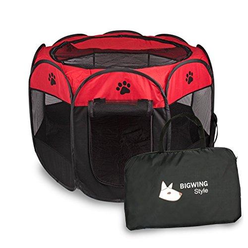 BIGWING Style Welpenlaufstall/Tierlaufstall/Hundehütte/Welpenauslauf/Laufstall für Hunde/Katzenhaus/Wasserdichtes Zelt für Kleintiere wie Hunde, Katzen (S,Rot)