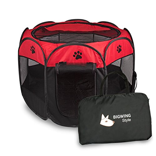 BIGWING Style Recinzione per cuccioli - Grande recinto per animali da usare all\'interno e all\'esterno- Facile da montare Red S