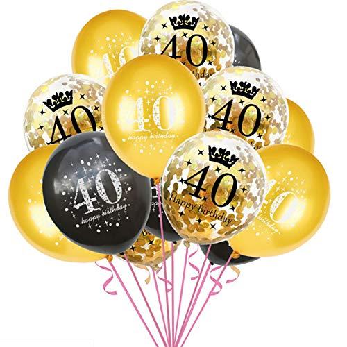 Haihuic 40 cumpleaños Globos de Decoracion, 15 Piezas de Globos de látex de Confeti número 40 con Cartel de Feliz cumpleaños por 40 años de Edad, Feliz Fiesta de cumpleaños Suministros, 30 cm