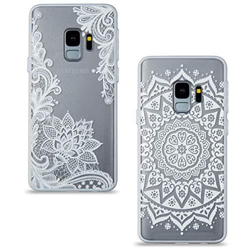 2 Stück Samsung Galaxy S9 Plus Hülle, Handyhülle mit Vintage Cool Weiß Mandala Spitze Design Durchsichtig Silikon Hülle Hart Backcover Weich Bumper Stoßdämpfend Schutzhülle für Samsung Galaxy S9 Plus