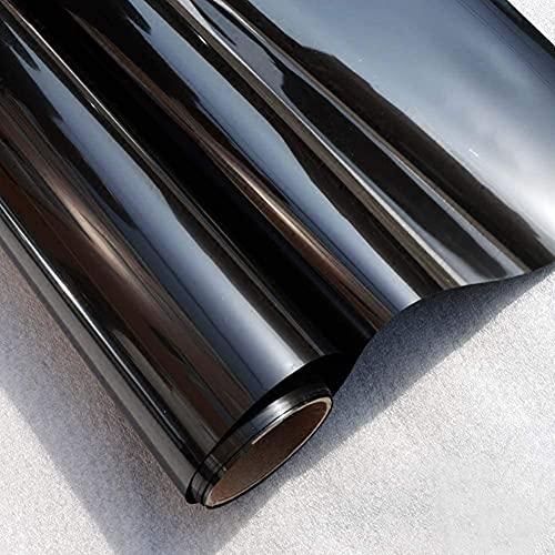 Linarun Fensterfolie, Blickdicht Selbstklebend Spiegelfolie Fenster Verdunkelungsfolie Schwarz Klebefolie Fenster Folie für Badezimmer und Büro (60x200 cm)