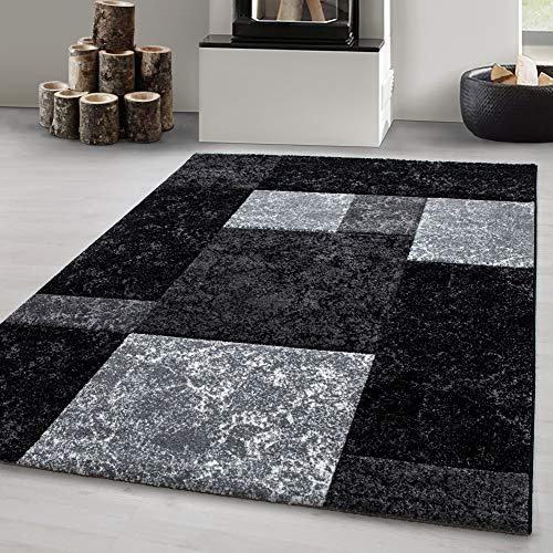 Carpetsale24 Designer Teppich kurzflor » HAWAX «, Wohnzimmerteppich, Konturschnitt Linien Kariert Optik,13 mm, Rechteckig, SCHWARZ, Maße:120 cm x 170 cm