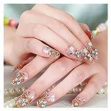 DINGGUANGHE 24 unids/Set Luxury Gold Fake Nails Shiny Bride Decoración de uñas Cubierta Completa Larga Uñas Artificiales