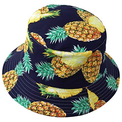 Herren Sommer Reversibel Fischerhüte - Damen Früchte Druck Sonnenhut Fishmen Faltbar Eimerhut (Ananas-Marine)