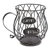 Mengmengda Cápsula de café universal cesta de almacenamiento de la taza de café cesta de la vendimia del organizador de la vaina de café negro para el hogar café hotel titular de la fruta para la