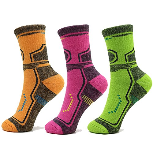 Womens Mens Hiking Wool Socks Warm Outdoor Athletic Crew Trekking Walking Winter Socks 3 Pairs
