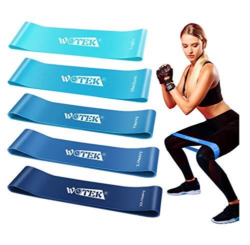 WOTEK Elastici Fitness, Bande di Resistenza Fitness con 5 Livelli di Resistenza per Fitness, Yoga,Crossfit,...
