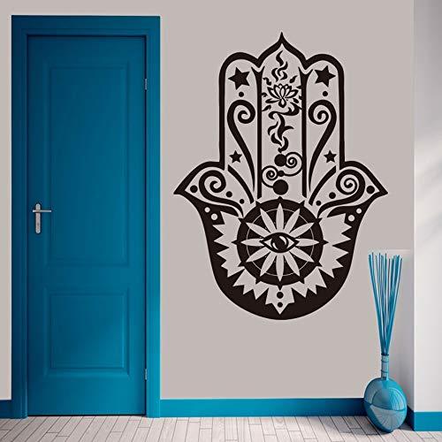 Vinyl fatima yoga vibes wandaufkleber wohnkultur wohnzimmer fish eye abziehbilder abnehmbare hamsa hand wandtattoo wandkunst 42x56 cm